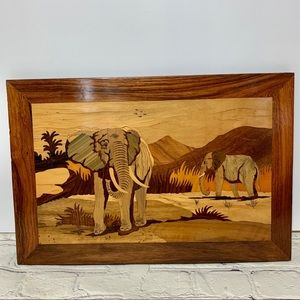 Vintage Elephant Marquetry Inlay Hanging Wood Art